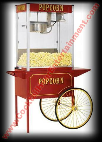 popcorn machine with popcorn cart