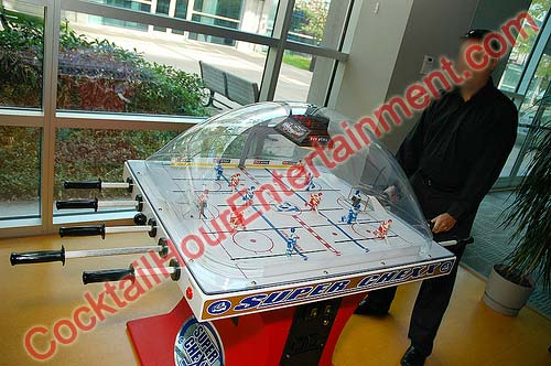 bubble hockey super chexx rod hockey arcade party rental dome game